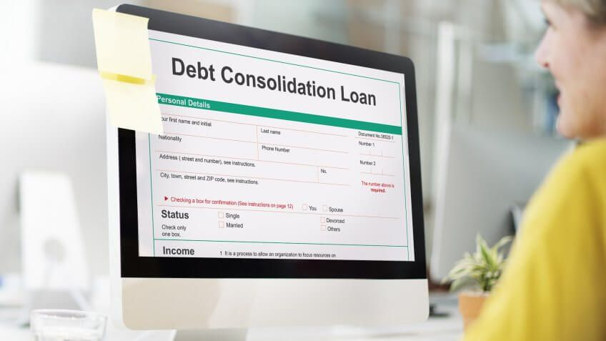 woman browsing debt consolidation loan page