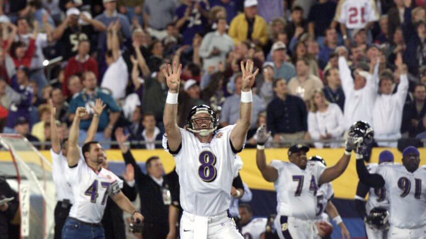 Trent Dilfer Baltimore Ravens quarterback Trent Dilfer (8) celebrates with teammates after throwing a 38-yard touchdown pass to wide receiver Brandon Stokley during the first quarter of Super Bowl XXXV against the New York Giants in Tampa, FlaCountdown To 50 Super Bowl 35 Football, Tampa, USA.