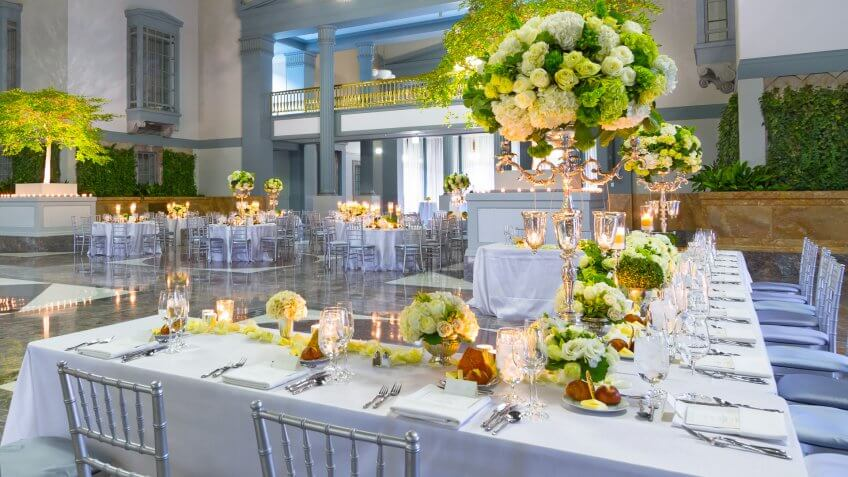 Arrangement, Ballroom, Banquet, Bouquet, Candle, Candlestick Holder, Celebration Event, Chair, Decoration, Drinking Glass, Elegance, Entrance Hall, Flower, Indoors, Luxury, Party - Social Event, Rose - Flower, Table, Wedding, Wedding Reception, White, event, food