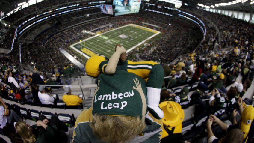 A Green Bay Packers fan looks down on the field before the start of the NFL Super Bowl XLV football game against the Pittsburgh Steelers, in Arlington, TexasSuper Bowl Football, Arlington, USA.