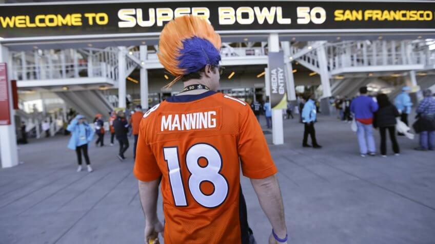 A Denver Broncos fan arrives at Levi's Stadium before the NFL Super Bowl 50 football game, in Santa Clara, CalifSuper Bowl Football, Santa Clara, USA.