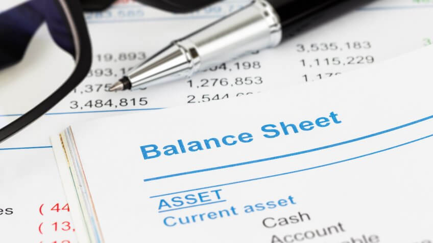 close up of a balance sheet