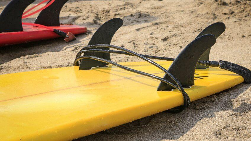 surfboard on the sand