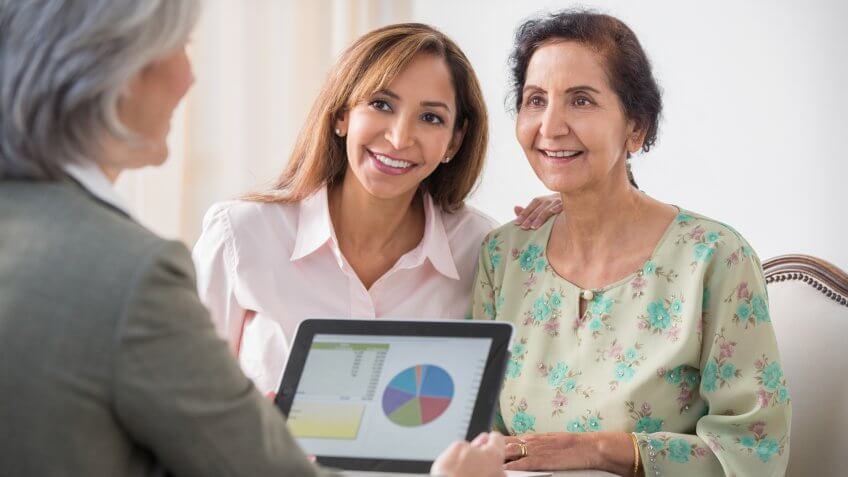 Mother and daughter talking with financial adviser.