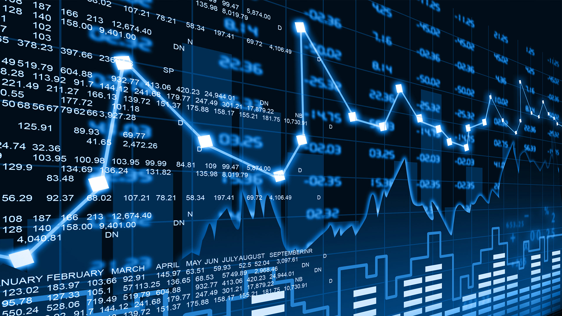 electronic blue stock data chart