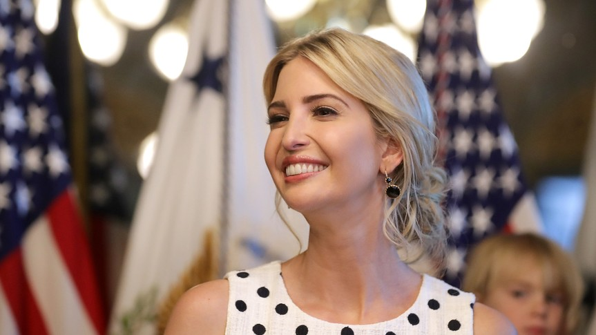 WASHINGTON, DC - MAY 09:  Ivanka Trump, assistant to the president and daughter of President Donald Trump, delivers remarks during an event celebrating National Military Appreciation Month and National Military Spouse Appreciation Day in the Eisenhower Executive Office Building May 9, 2017 in Washington, DC.