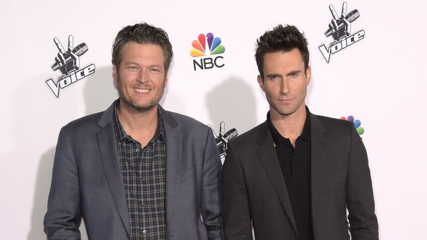 "UNIVERSAL CITY, CA - NOVEMBER 24:  Singers Blake Shelton and Adam Levine attend NBC's ""The Voice"" Season 7 Red Carpet Event at Universal CityWalk on November 24, 2014 in Universal City, California."