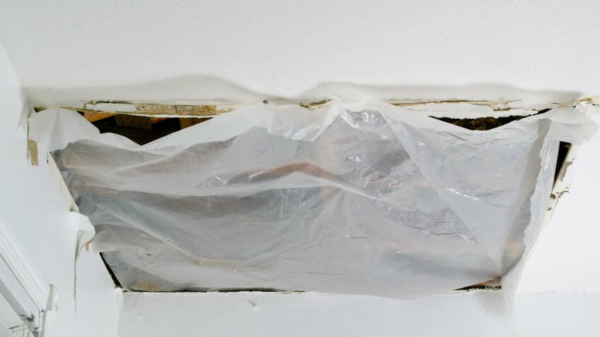 collapsed ceiling panel