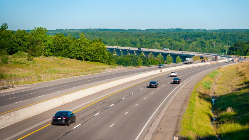 The Ohio Turnpike (Interstate 80) crosses the Cuyahoga Valley south of Cleveland.