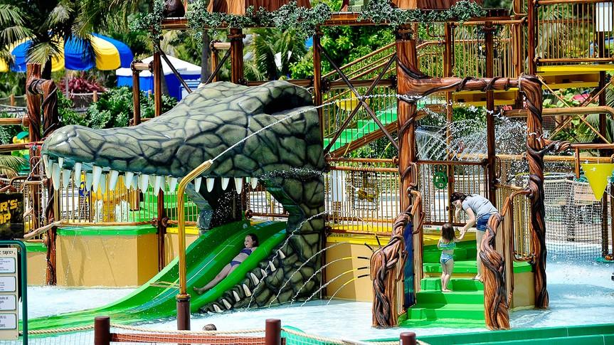 water park with children