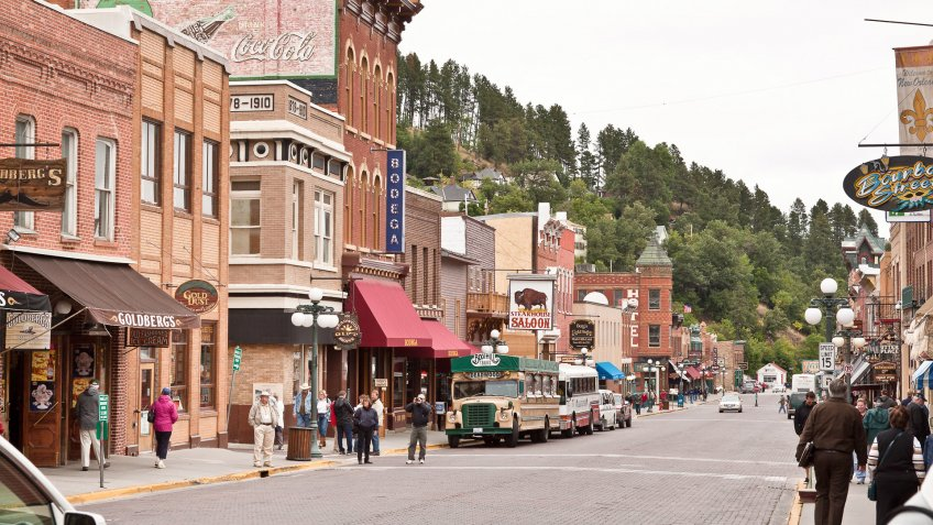 """Deadwood, South Dakota, USA - September 14, 2011: View on Upper Main Street in South Dakota."