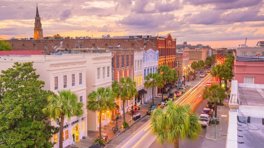 South Carolina Charleston downtown at sunset