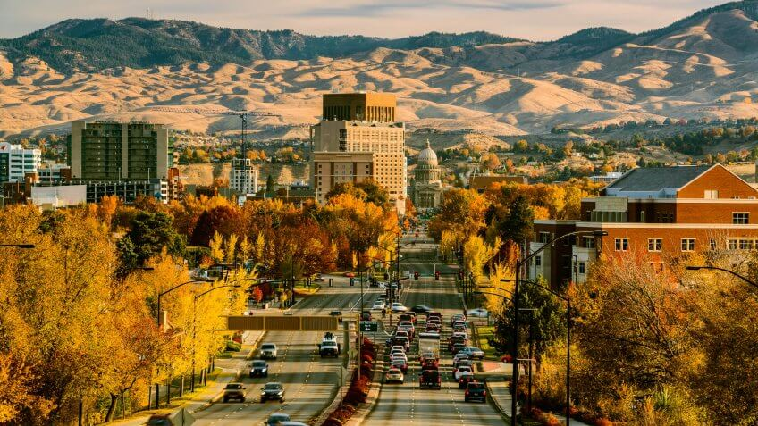 View of Boise downtown and Idaho Capitol on a fine autumn morning as seen from Capitol Blvd, Boise, Idaho, USA.