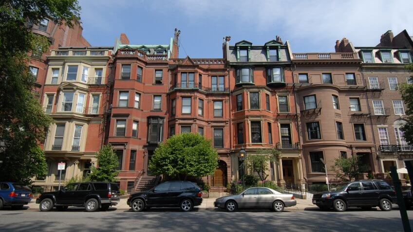 Row of brownstones in Boston's Back Bay.
