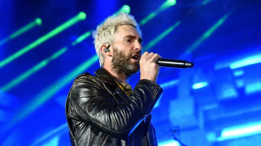 CARSON, CA - MAY 13:  Adam Levine of Maroon 5 performs onstage during 102.