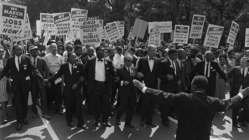 civil rights protest black and white