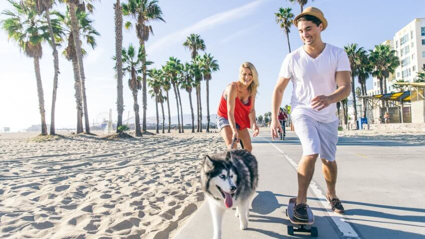 young people skateboarding and walking dog on a beach
