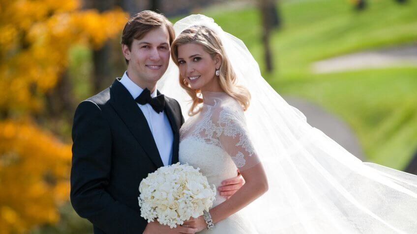 BEDMINSTER, NJ - OCTOBER, 25:  In this handout image provided by Ivanka Trump and Jared Kushner, Ivanka Trump (R) and Jared Kushner (L) attend their wedding at Trump National Golf Club on October 25, 2009 in Bedminster, New Jersey.