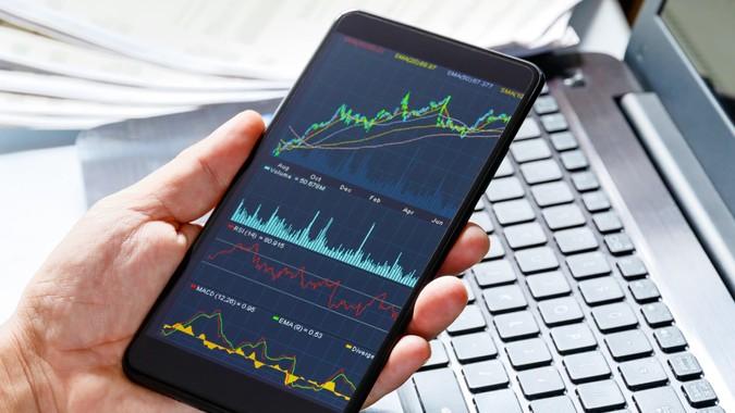 Stock market data on moblie phone.