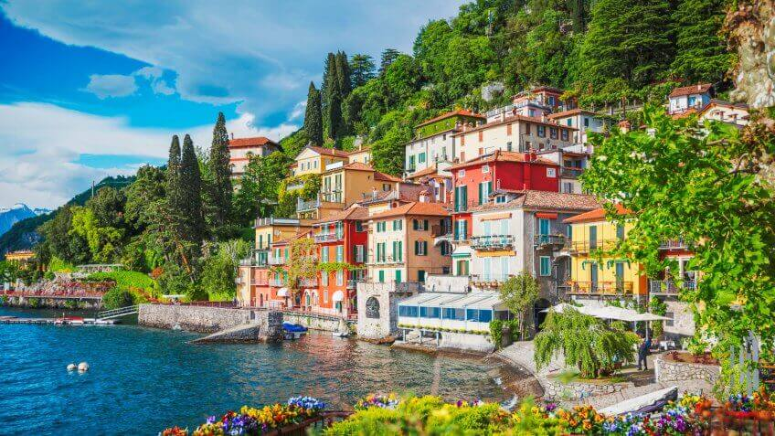 View of Varenna town at Lake Como, Italy.