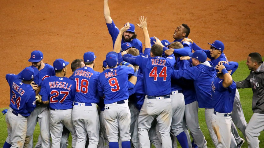 The Cubs celebrate after winning the 2016 World Series.