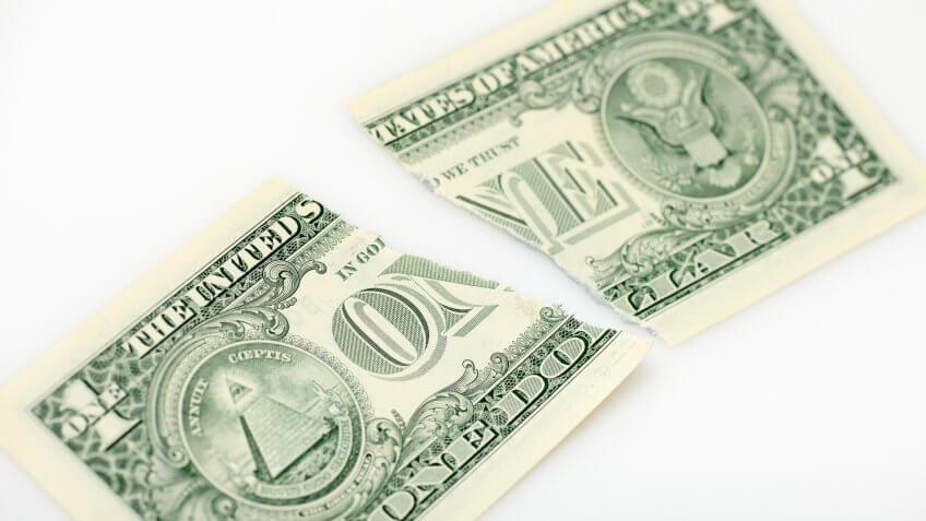 ripped US dollar bill
