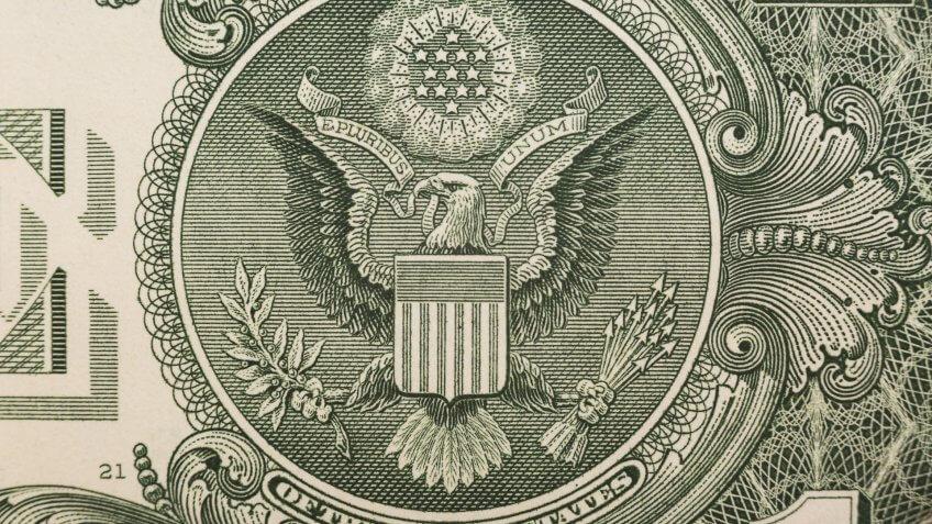 close up of US dollar bill eagle