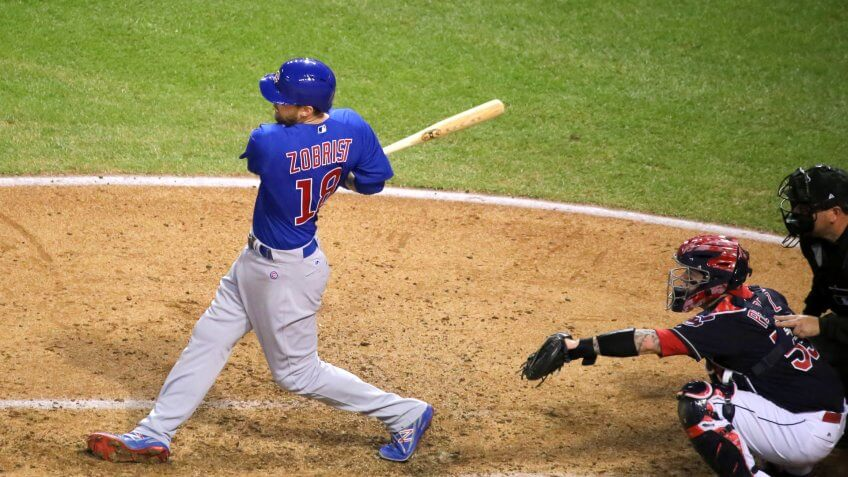 Cubs outfielder Ben Zobrist swings at a pitch during World Series Game 7.