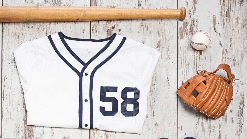 baseball bat, mitt, ball and jersey