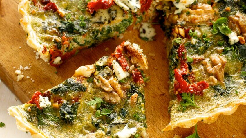 Gruyere, Watercress and Sun-Dried Tomato Crustless Quiche