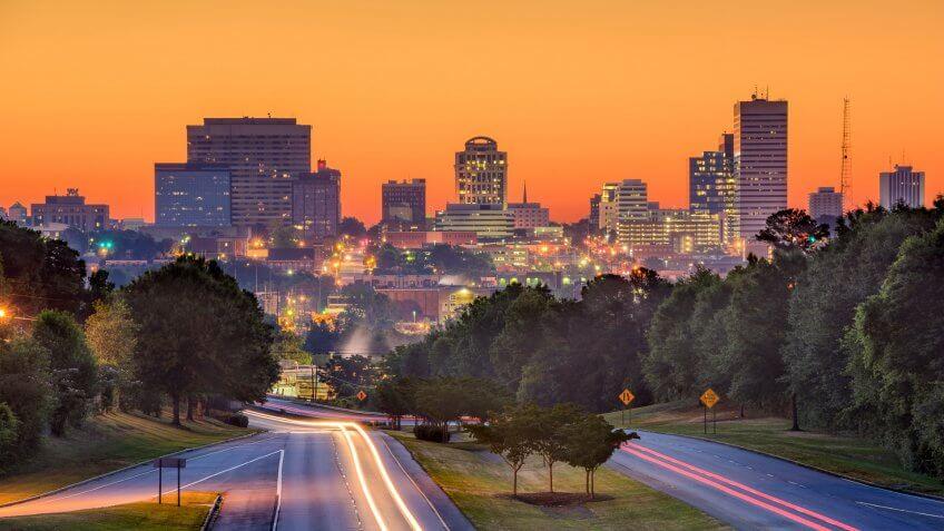 Columbia South Carolina skyliine at dusk