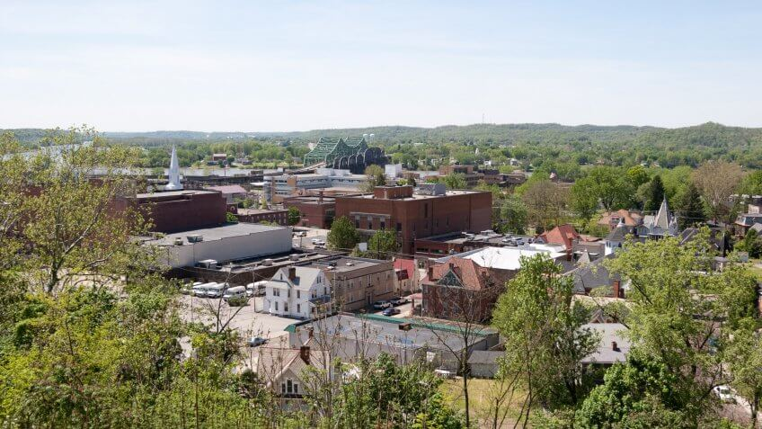 """""""A view on Parkersburg, West Virginia from a nearby hill""""."""