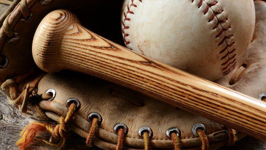 baseball mitt bat and ball