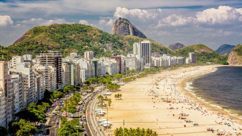 Copacabana Beach and Sugar Loaf Mountain,Rio de Janeiro.