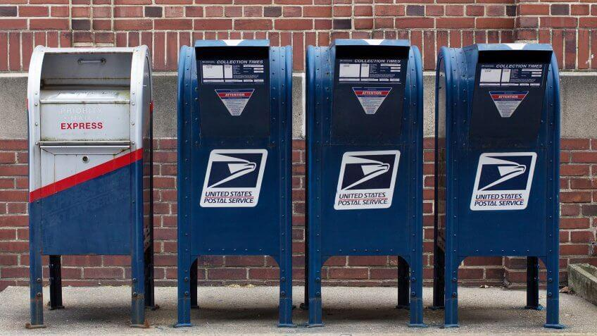 Clarion, PA / United States - February 25 2018: USPS boxes in a row outside the post office.