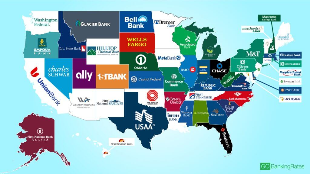 Here Is The Biggest Bank In Every State GOBankingRates - Map of chase bank locations in us