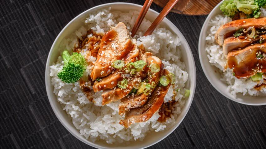 Grilled Chicken Breast with Teriyaki Sauce over Steamed Rice