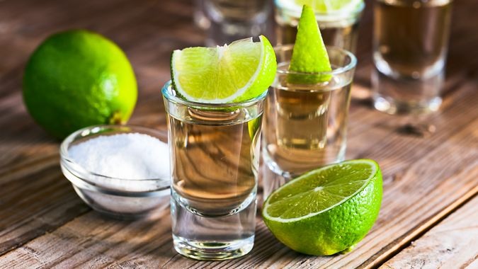 tequila shots with lime and salt for national tequila day