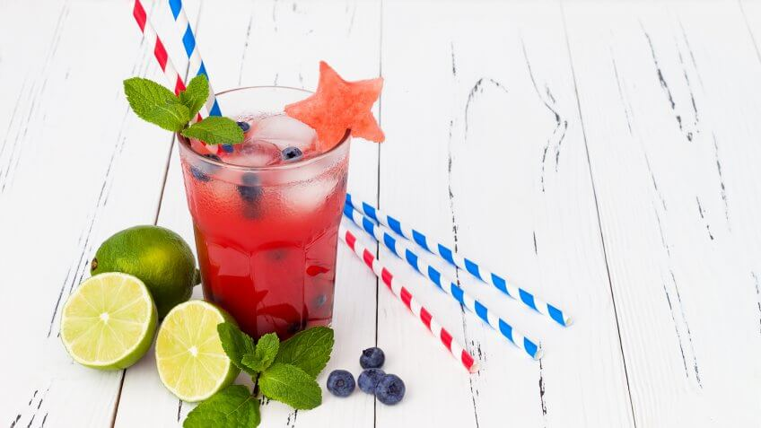 6 Red, Watermelon blueberry mojito. Patriotic drink cocktail for 4th of, White and Blue Batch Cocktails for Under $12
