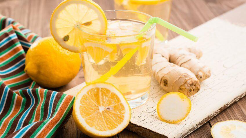 6 Red, Lemon-ginger lemonade in a glass, White and Blue Batch Cocktails for Under $12