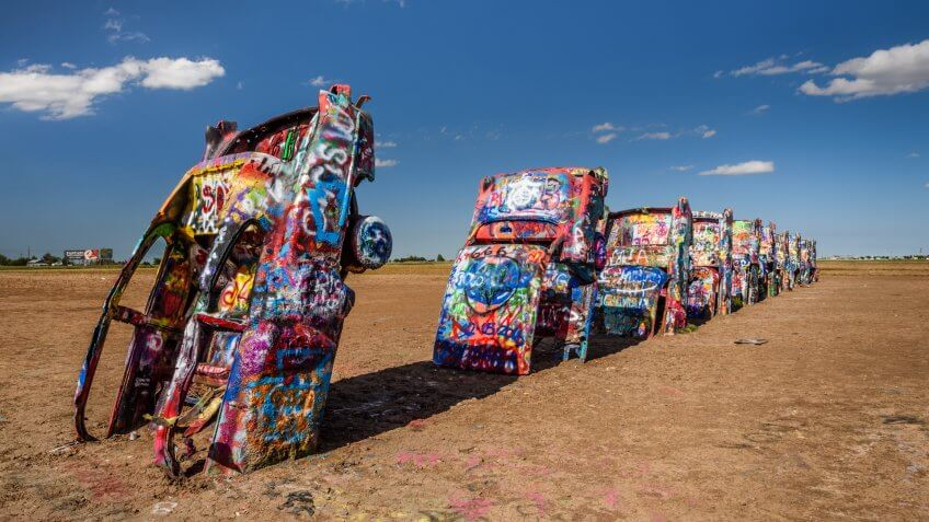 AMARILLO, TEXAS, USA - MAY 12, 2016 : Cadillac Ranch in Amarillo.