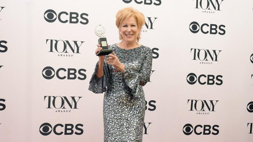 <strong>Best Performance by an Actress in a Leading Role in a Musical </strong><strong>&#8212;</strong><strong> Bette Midler Net Worth:  </strong><strong>$230 Million</strong>