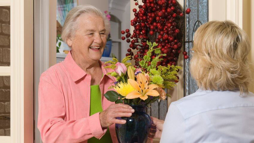 grandma being delivered flowers