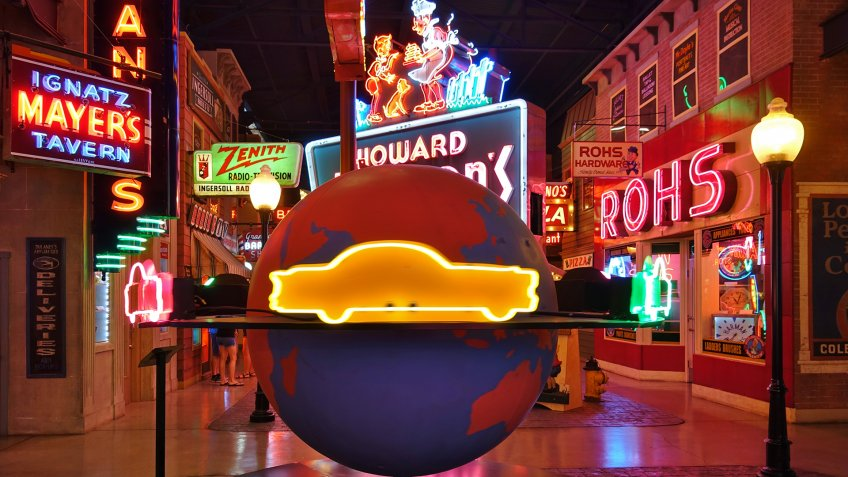 CINCINNATI, OH -13 JUL 2019- View of the American Sign Museum, a collection of large neon signs located in Cincinnati, Ohio, United States.