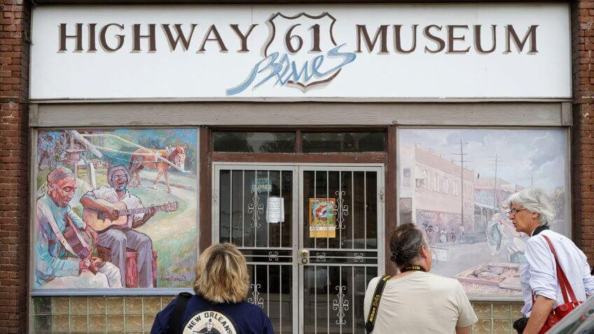 LELAND, MISSISSIPPI, May 8, 2015 : Tourists visit Highway 61 Museum.