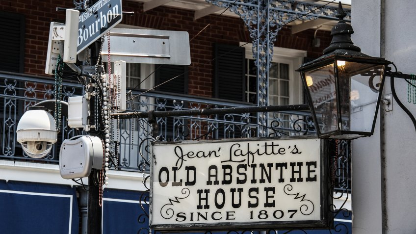 NEW ORLEANS / UNITED STATES - JULY 7, 2011: Jean Lafitte's Old Absinthe House, a landmark New Orleans watering hole established in 1807 on Bourbon Street.