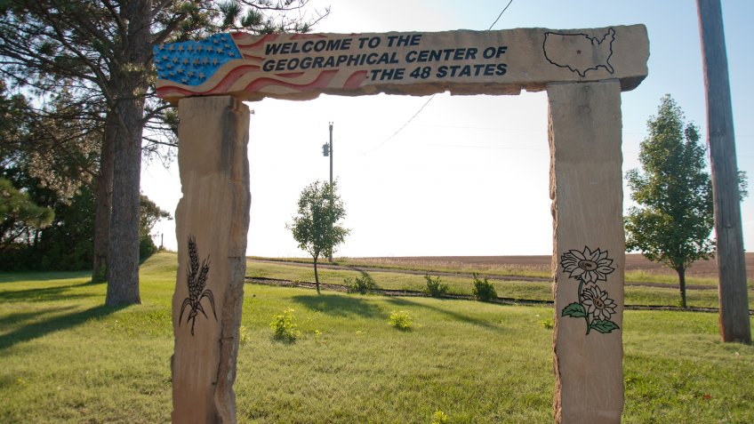 Lebanon, Kansas, USA - 7/2019: Park at Geographical Center of USA marker.