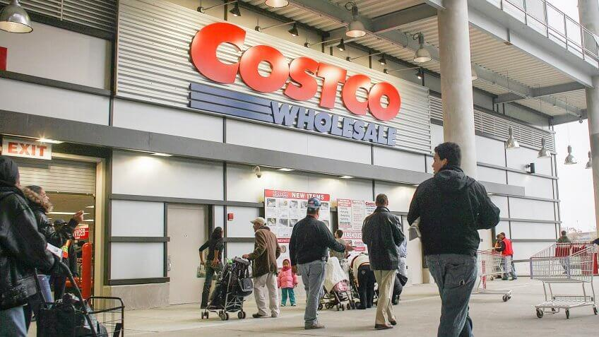 NEW YORK - NOVEMBER 13:  Shoppers enter a recently opened Costco warehouse store on November 13, 2009 in New York City.