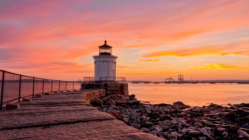 South Portland, Maine's adorable bug light during a spectacular sunrise.