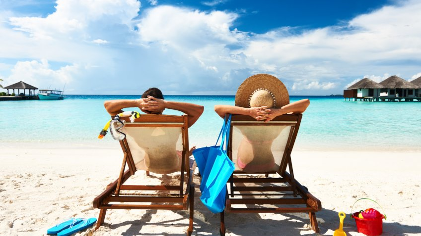 11248, Beach, Blue, Caucasian, Chair, Chaise Longue, Couple, Family, Flip-flop, Hat, Horizontal, Idyllic, Lifestyles, Love, Luxury, Maldives, Men, Rear View, Relaxation, Remote, Sand, Sandal, Sea, Serene People, Sitting, Sky, Slipper, South Male Atoll, Summer, Sun Hat, Tan, Tourist Resort, Tranquil Scene, Travel, Travel Destinations, Tropical Climate, Two People, Vacations, Water, White, Women, nature, people